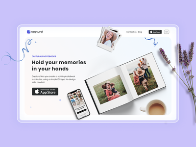 Captural — Next generation photo book app! ios app landing lavender flower photobook book photo app photo cute purple interface ui design
