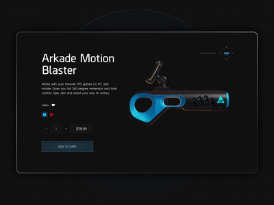 Arkade Motion Blaster ecommerce 360 view motion design games interface blue dark cyber blaster ui gaming animation web design 3d