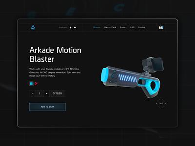 Arkade Motion Blaster ecommerce 360 view motion design games interface blue dark cyber blaster ui gaming animation web design 3d