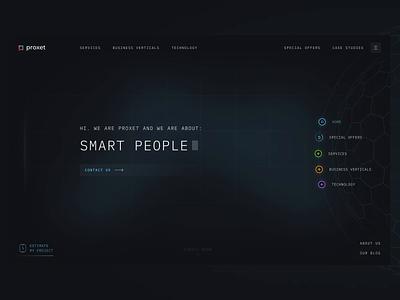 Proxet — Software Company animation software company mainpage cyber ai future futuristic dark interface design