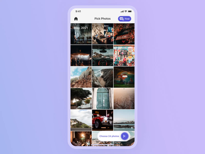 App for photobook creation ✨ mobile app design mobile ui scrolling filter scroll animation clear application search maps select photobook travel app design purple animated photo ios app interface