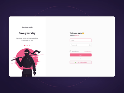 Reminder Ninja — A whole-range scheduling app application ninja prototype calendar schedule timetable app interface interaction illustration product design ux panel web app animation graphic design logo ui