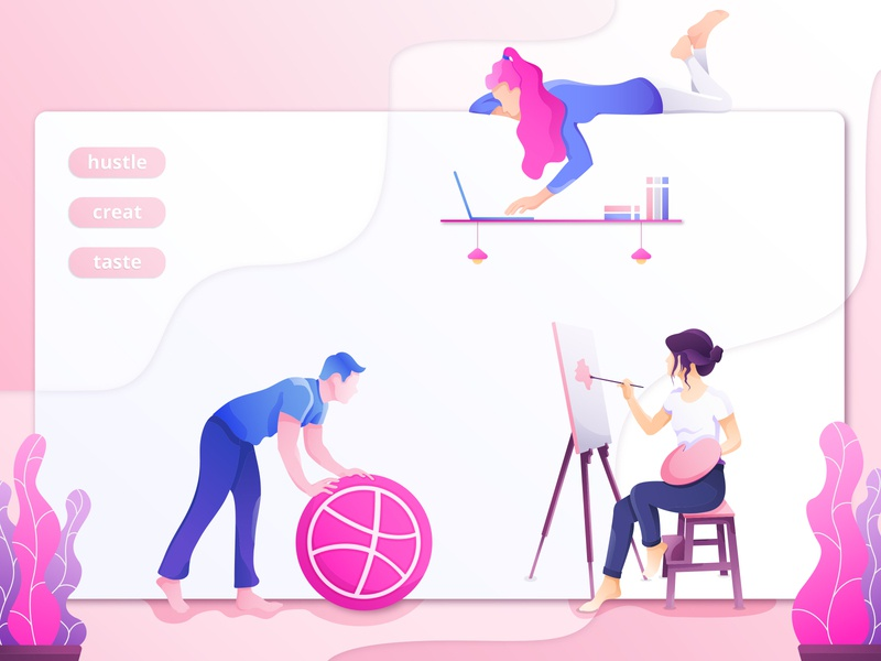 | Artist | Developer | User ( Landing Page ) artist landing cartoon web developer user userinterface creature clean minimal landing page web design website creative character flat ux ui illustration design