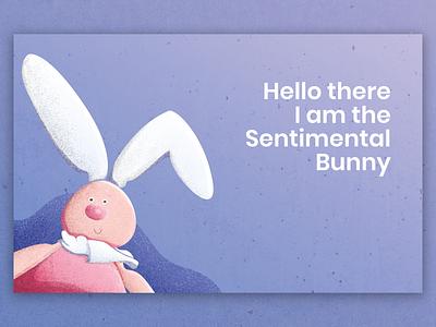 Sentimental Bunny sentimental weekend funny playful rabbit bunny cute animal mascot landing page ux texture cute creature creative character cartoon website ui design illustration