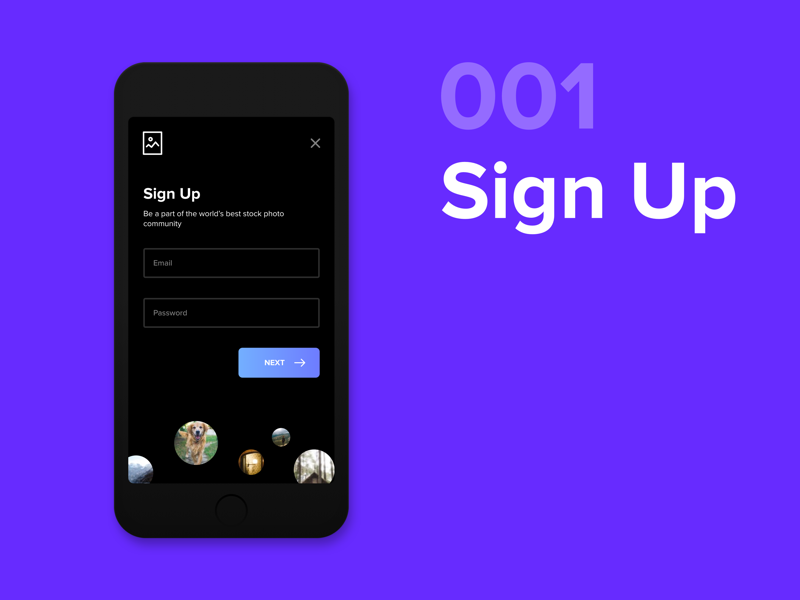 Daily UI - #001 sign up 001 signup dailyui