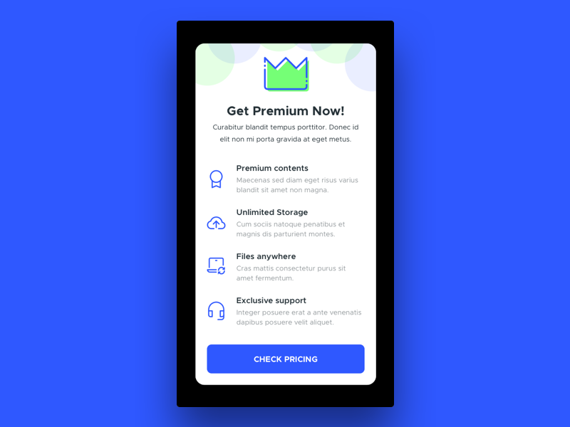 Daily UI #016 - Pop-up / Overlay card pricing plans subscribe membership premium ios overlay popup dailyui