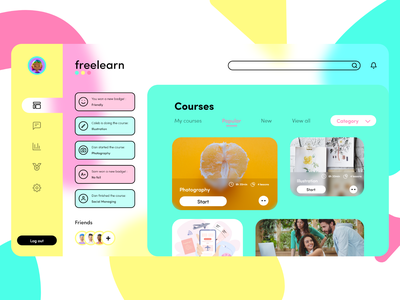 freelearn app clean glassmorphism educational courses student app design ui  ux