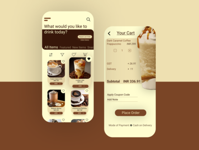 Coffee Ordering App palette mocha user experience design designer portfolio delivery service delivery app color palette coffee shop coffee delivery coffee vector application branding user interface figma app concept ux ui beginner ui design