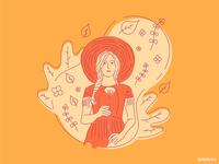 Lady Straw Hat beautiful monochrome fantasy flowers flat ilustration flat design oranges straw hat woman design illustration simple flatdesign vector minimal illustrator illustration flat design art