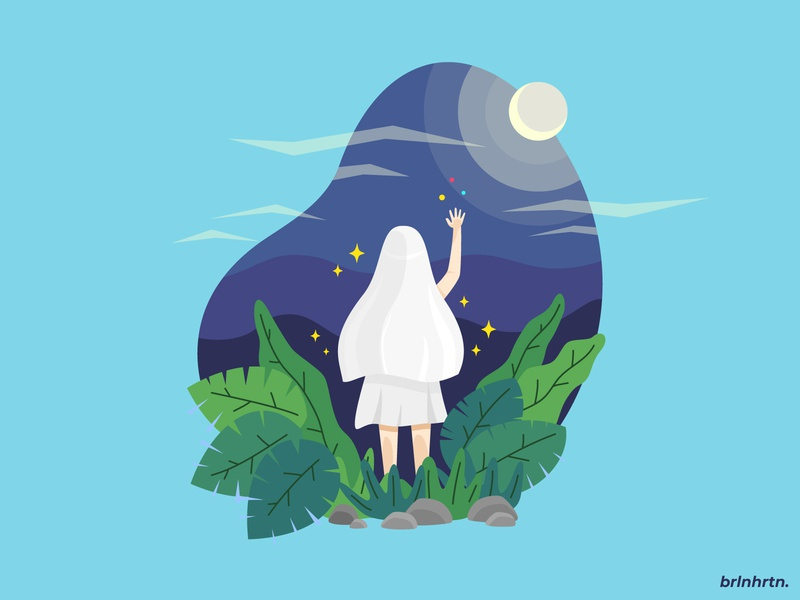 Guardian of The Soul vector art commission moon girl purple mnimalist simple design illustration flatdesign flat vector minimal illustrator illustration design art