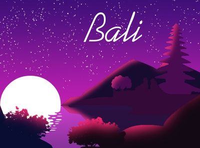 bali landscap flat desain landscape design landscape icon bali vector illustration design