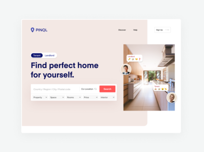 Pinql.com Real estate from France app flat webflow web branding website ui design minimal agency