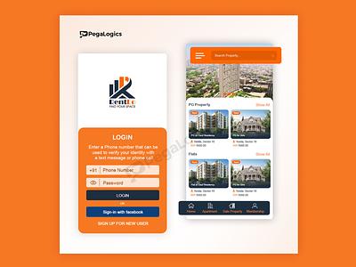 Real Estate App Screen ecommerce design dsign homepage appdesign development design app ui design pegalogics design