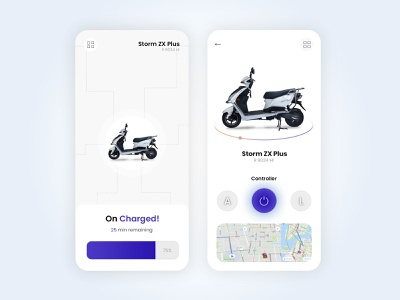 Electric Motorcycle Mobile App clean ui mobile ui uiux app app design ui design motorcycle electric motorcycle artificial intelligence