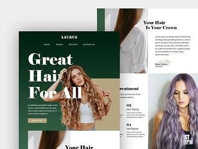Salon Home Page UI Design photoshop design branding uiux ui design homepage