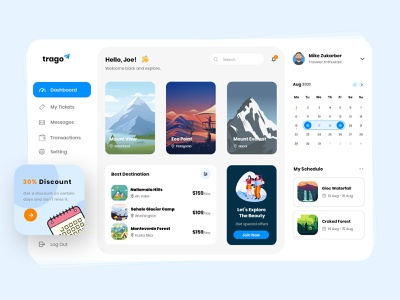 Trago - Travel Dashboard photohsop design ui ux travel dashboard dashboard design dashboard ui design