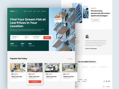 LivingSpace - Landing Page Design design branding homepage landing page realestate ui ux design
