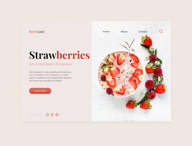 BerryLand strawberries minimal pink concept art designart design uiux ui лендинг strawberry berry landingpage landing homepage concept design concept