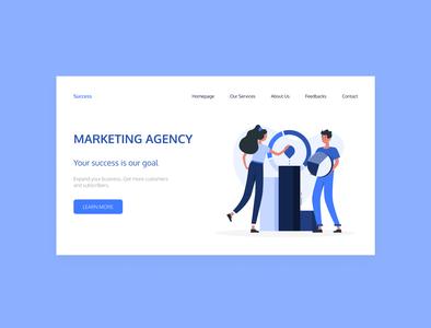 Marketing Agency illustration лендинг design minimal blue marketingagency marketing homepage design uiux ui concept landingpage landing homepage