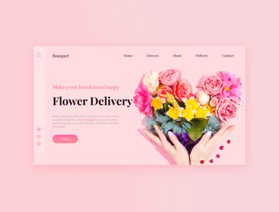 Flower Shop summer pink mainpage website flower shop flowers flower homepage design concept лендинг uiux ui landingpage landing