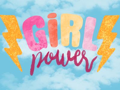 GIRL POWER women girl power vector typography procreate illustration handlettering glitter feminist art design colorful