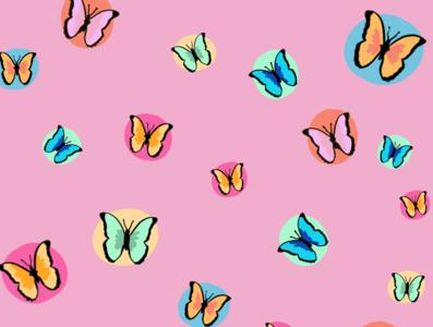BUTTERFLY PATTERN butterfly women vector typography procreate illustration handlettering glitter feminist art design colorful