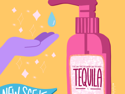 TEQUILA SANITIZER typography procreate illustration handlettering sanitizer coronavirus feminist art design colorful