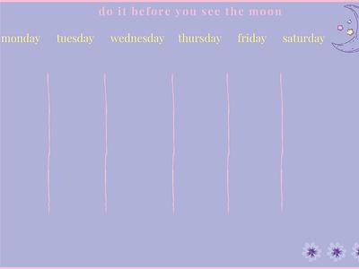 Lilac Planner night moon lilac minimal tool organiser to-do animation icon vector design illustration planner