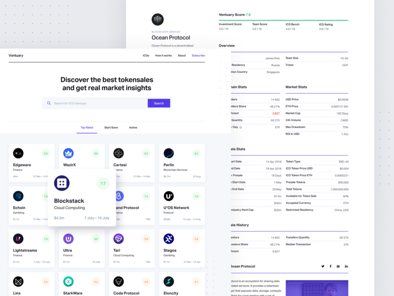 Ventuary – Web app case study case product app startup crunchbase table dashboard crypto bitcoin ico concept