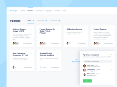 Hiring CRM Platform — Pipelines funnel flow board careers hiring crm employer project candidate dashboard hr jobs data group buckets sharing pipeline folder boards