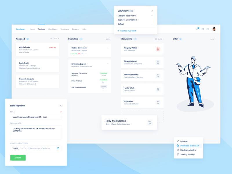 Hiring CRM Platform — Kanban Board hiring job hr flow deals teams task saas agile process marketing dashboard crm collaboration kanban card boards