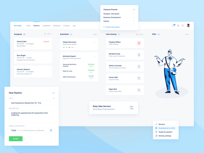 Hiring CRM Platform — Kanban Board hiring job hr flow deals teams task saas agile process marketing dashboard crm collaboration kanban card boards