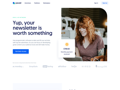 Paved ― Landing Page ① marketing email newsletter ui landing page website smooth homepage landing