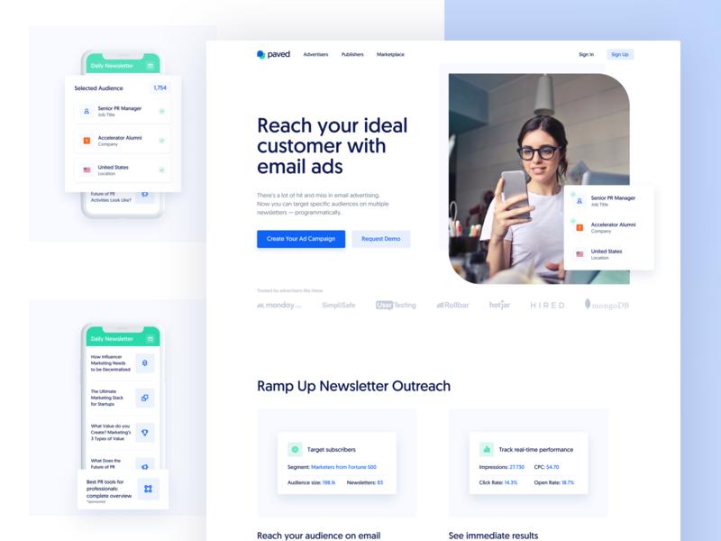 Paved ― Landing Page ② newsletter saas email website ui smooth marketing landing page landing homepage