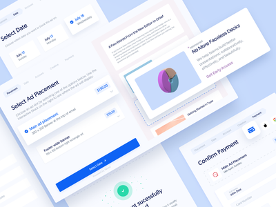 Ad Reservation Modal ― Complete Flow banner facebook ad builder app popup placement payment credit card purchase ecommerce widget steps wizard process reservation booking flow component elements