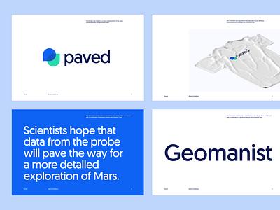 Paved ― Brand Exploration brandbook typography logo styleguide geomanist saas identity branding guidelines brand