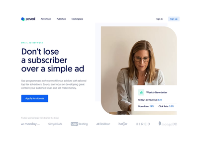 Paved Landing Page ― Animation Concept targeting bid ad cpa cards advertiser newsletter email marketing animated earnings chart elements interaction parallax concept promo landing page after effect landing