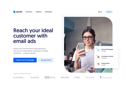 Landing Page ― Animation Concept cpa sponsorship impressions ads targeting outreach after effects landing page promo concept parallax interaction elements chart animated marketing email newsletter advertiser cards