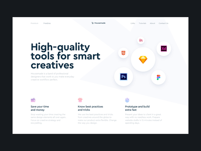 Mousemade – Tools for smart creatives landing concept creative figma photoshop xd invision html5 marketplace hero