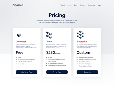 Pricing Page table red monochrome corporate landing ai ml enterprise pricing