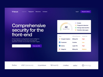 Feroot – Inspector Landing Page web landing hero security compliance assessment saas purple front-end