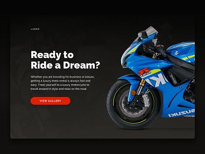 Motorcycle Rental dark clean promo bike hero interface ui web