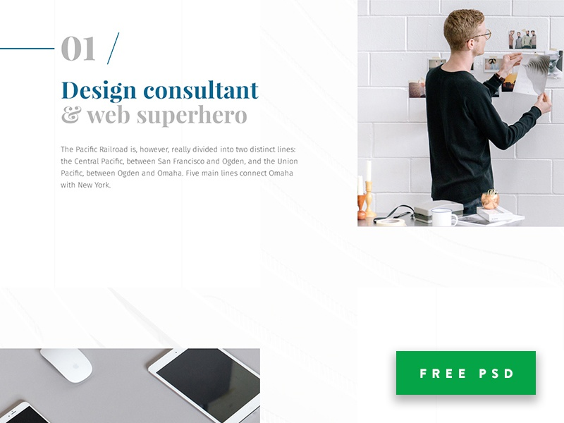 Free Portfolio PSD Template free freebie psd template theme bootstrap photoshop ui kit pack fonts