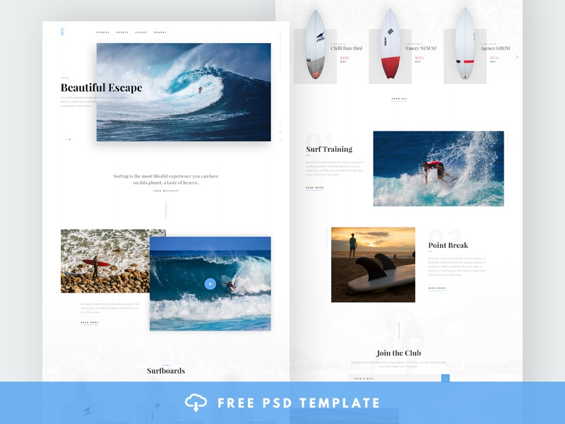 Surfing Free Theme PSD kit mockup pack ui theme template font freebie psd free