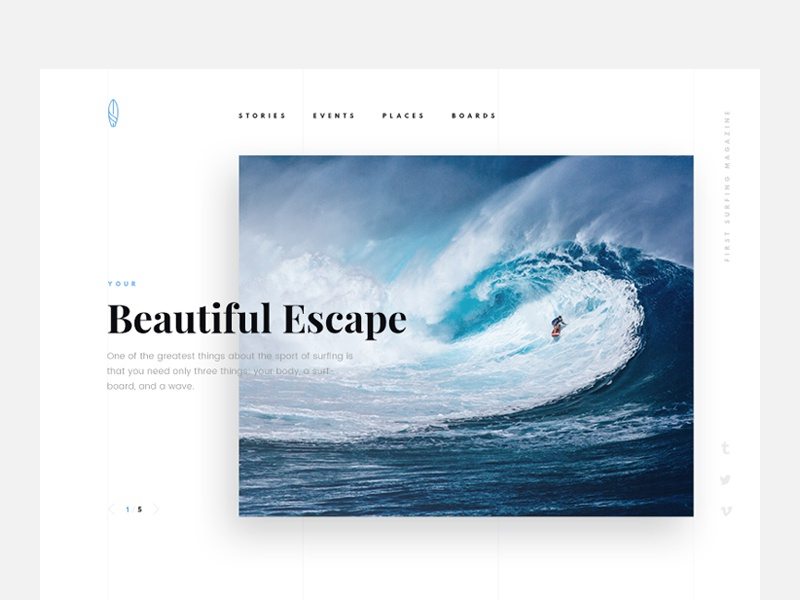 Surfing Free Theme PSD hero ecommerce promo landing concept free psd freebie font template ui mockup