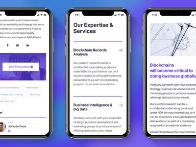 Ventuary – Mobile Layout token crypto tracker mining ethereum blockchain bitcoin ico mobile iphone app landing