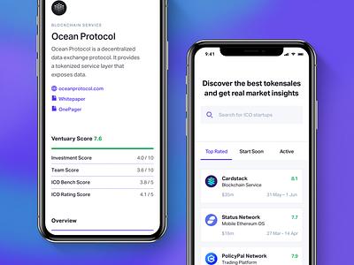 Ventuary – Mobile Layout landing app iphone mobile ico bitcoin blockchain ethereum mining tracker crypto token