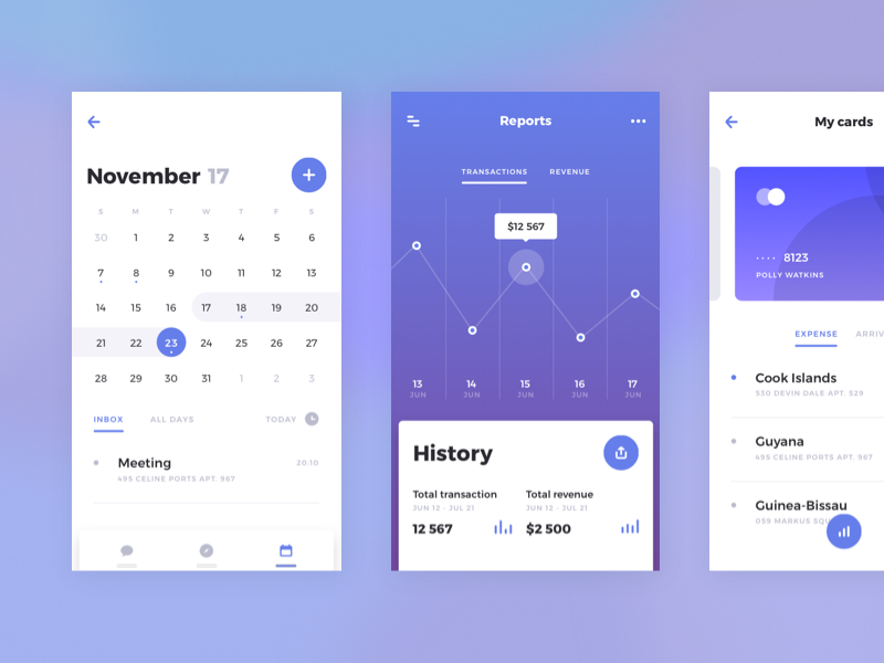 Rodman UI Kit: Finance Data color concept kit chart card ux android mobile ios music ui kit app