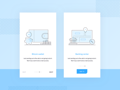 Crypto Mobile UI Kit: Onboarding Illustrations freebie free crypto bitcoin onboarding walkthrough kit cryptocurrency chart fintech ico token