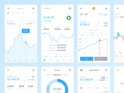 Crypto Mobile UI Kit: Graphs & Charts freebie free mobile crypto bitcoin graph kit cryptocurrency chart fintech ico token